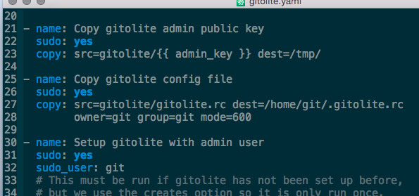 Ansible setup of Gitolite in Emacs